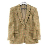 Harris Tweed 100% Laine Marron Veste Blazer Taille US/UK 42 Court Eur 52 Courtes
