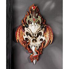 Gothic Sword Piercing Demon Skull Flame Wings Fierce Tribal Wall Sculpture