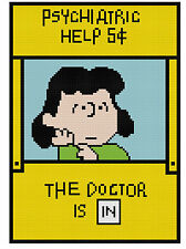 Counted Cross Stitch Pattern Peanuts Lucy the Psychiatrist - Free US Shipping