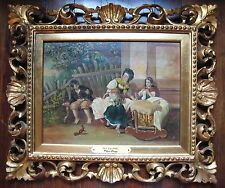 Antique Whimsical Genre Oil; Family With Pet Squirrel