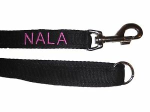 Personalised Embroidered Dog Training Lead  Choice of Colours
