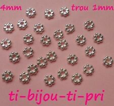 LOT de 100 PERLES INTERCALAIRES daisy FLEURS 4mm ARGENTE clair trou 1mm bijoux