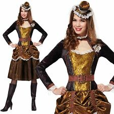 Ladies Steampunk Lady Costume Womens 20s Victorian Sci-fi Fancy Dress Outfit