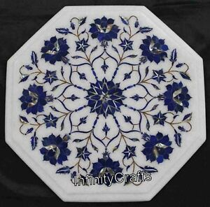 Lapis Lazuli Gemstones Inlaid Coffee Table Top Marble Bed Side Table 12 Inches