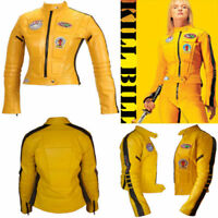 New Woman Kill Bill Movie Yellow Cowhide Motorcycle Biker Leather Two Piece Suit