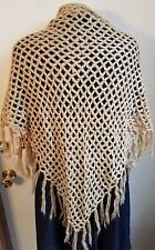 SHAWL Hand Crocheted Gold Mohair SHAWL Triangular Wrap Tasseled Edge