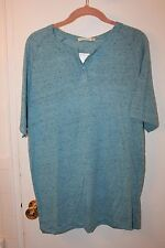 ALTERNATIVE APPAREL MENS CABO BLUE T SHIRT LARGE SHORT SLEEVE BUTTON NECK NEW
