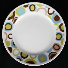 Corelle (Corning ) ROLA Luncheon Plate, Blue, Green, Brown Circles