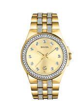 New Bulova 98B174 Gold Tone Stainless Steel Swarovski Crystal Men's Watch