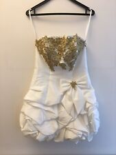 Women Forever Unique White Gold Puffball Mini Prom Dress 8 Strapless RRP £150