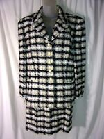 Escada Margaretha Ley Boucle Knit Hounds Tooth Skirt Suit 42 VGC