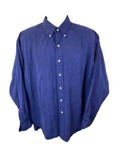 Polo Ralph Lauren Men XL Blake Navy Long Sleeve Button Shirt 62% Silk 38% Cotton
