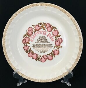 "Vintage Jeanette Royal China Cherry Pie Plate 11"" Deep Dish With Recipe"