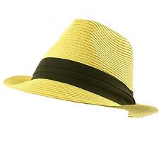 Men's Summer Classic Fedora Trilby Black 3 Pleat Hatband Hat Natural S/M 56cm
