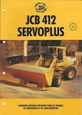 Equipment Brochure - Jcb - 412 Servoplus Wheel Loader c1996 French lang (E4988)