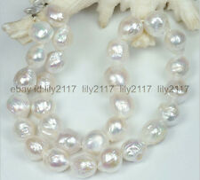 "Natural Huge 11-13mm Australian south sea kasumi white pearl necklace 18""14K GP"