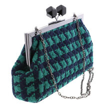 Womens Houndstooth Clutch Fancy Oversized Green & Blue Handbag Great Girls Purse