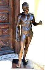 Große Bronzeskulptur Krieger-Griechische Mythologie auf Bronzeplatte 30 kg