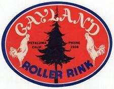 """Vintage Paper Roller Skating Logo: """"Gayland Roller Rink - Petaluma, Calif."""""""