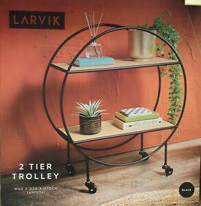 Larvik Decorative Black Round Drinks Trolley 2 Tier Table Display Brand New