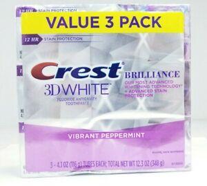 3 Pack Crest 3D White Brilliance Vibrant Peppermint Toothpaste 4.1 Oz Exp 09/23