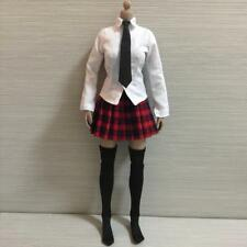 """1/6 Female Clothes White Shirt Red Plaid Skirt Set for 12"""" Action Female"""