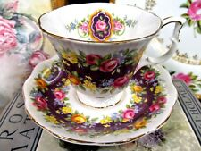 ROYAL ALBERT TEA CUP AND SAUCER PURPLE RADIANCE GARLAND SERIES TEACUP ROSES