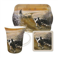 Tea Time Gift Set Border Collie Sheep Journey Home Mug Coaster Biscuit Tray NEW