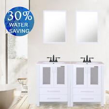 "Bathroom Vanity 48"" Drop in W/ Rectangle Ceramic Sink 2 Handle Orb Faucet Mirror"