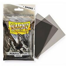 100 Perfect Fit Sleeves, Dragon Shield Smoke, Standard Size (Magic, FoW)