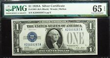1928A ONE SILVER DOLLAR GEM UNC FUNNY BACK SILVER CERTIFICATE NOTE PMG 65 EPQ