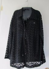 Women XL Upper E. Side Black Stretchy Lace Button Down Shirt Blouse Jacket Sheer