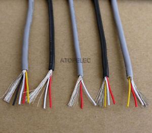 1M/5M UL2547 Copper Wire Shielded Audio Headphone Signal Cable Cord 2/3/4 Cores