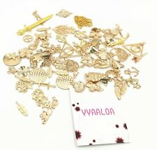 100g Lots Antique Gold Mixed Pendants Charms Assorted DIY For Jewelry Making