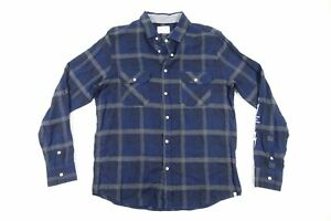 SOVEREIGN CODE PLAID WINDOWPANE BLUE LARGE FLANNEL SNAP BUTTON FRONT SHIRT NWT