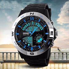Mens Watches Dual Time Digital Analog Alarm Date Sport Military Watch Waterproof
