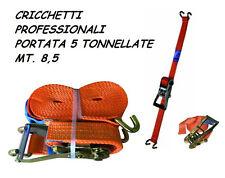 CINGHIE FASCIA MT 8,5 DOPPIE 2 GANCI MORSETTO TENDITORE CRICCHETTO 5 TONNELLATE