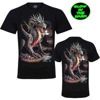 New WILD  Men Gothic T-shirt Dragon/Castle Glow In Dark Both Side Print