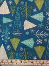 CHRISTMAS WONDERLAND BLUE TREES CAMELOT COTTON QUILT / CRAFT FABRIC