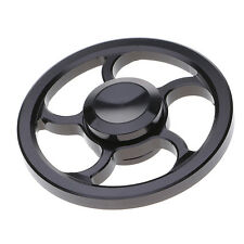 Black Alloy Round Wheel Hand Spinner Toy for ADHD Anxiety Autism Stress Reducer