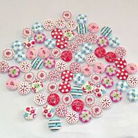 100 Pcs Mixed 2 Holes Round Pattern Wood Buttons Sewing Scrapbooking 15mm