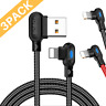 3Pack 6Ft Lightning Cable 90 Degree USB Fast Charger Cord For iPhone 11 X 8 7 6
