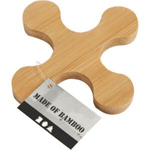 Bamboo Propeller Shaped Wood Trivet Pan Stand Holder Work top Protector x 1