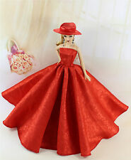Red Fashion Royalty Princess Party Dress/Clothes/Gown+hat For Barbie Doll EU09