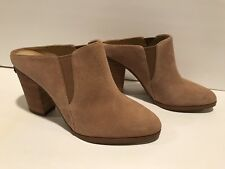 Michael Kors Braden Closed Toe Mules Heels Pumps Suede Cashew Tan 9 M/ 40