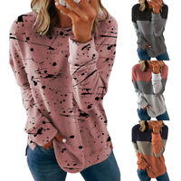 Womens Ladies Long Sleeve T Shirt Blouse Loose Pullover Tee Tops Casual
