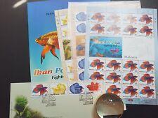 2003 MALAYSIA Fighting Fish 3 sheetlets + FDC + 1MS MNH