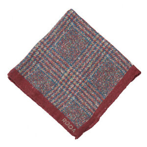 NWT RODA Burgundy-Blue-Green Check Print Wool-Linen Pocket Square