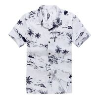 Plus Size 4X 5X 6X Men Hawaiian Shirt Luau Aloha Cruise White Map Palm Island