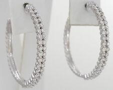 0.75 ct 14k White Gold Round Cut Diamond Double Row Hoop Earrings 28 mm